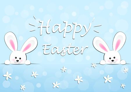 happy easter card, two funny bunnies on a blue background horizontal vector illustration