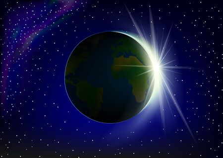 bright sunrise on Earth, view from space, horizontal vector illustration