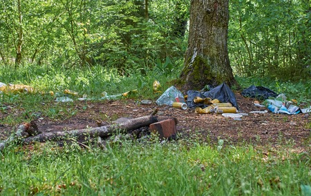 big pile of garbage in the forest Archivio Fotografico - 125432016