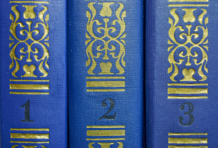 the pattern on the covers of three volumes of old books close-up