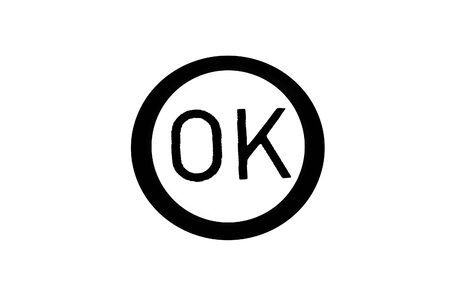 OK button in black circle isolated on white background Archivio Fotografico - 125432094