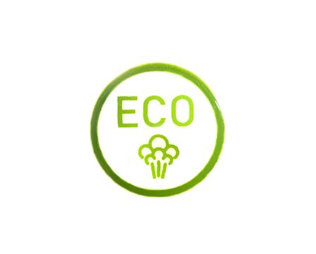 the ECO button with the symbol of a tree in the green circle isolated on white background