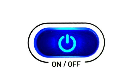 on-off button highlighted in blue isolated on white background Stok Fotoğraf - 125432096