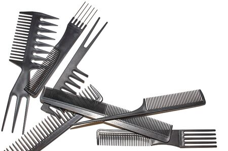 Set of plastic hair combs isolated on white background Stok Fotoğraf - 132119184