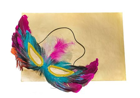 Carnival mask with feathers lies on a gold background isolated