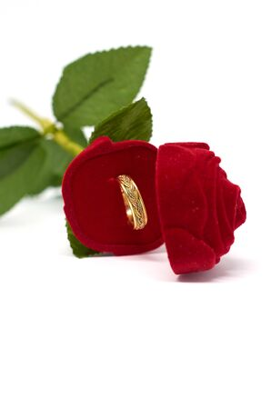 the gold wedding ring lies in an open case in the form of a red rose flower isolated on a white background Фото со стока