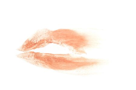 smudged print of parted lips in lipstick isolated on white background Stok Fotoğraf