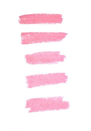 five free windows of smears of pink lipstick isolated on a white background Stok Fotoğraf