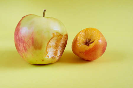 A bitten Apple and a whole nectarine lie on a colored background. Close up
