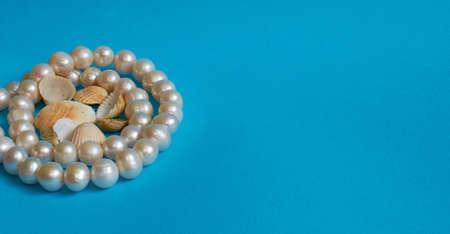 Marine layout. Pearl beads and lots of small shells on a blue background. Space for text