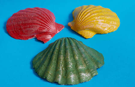 Marine layout. Three seashells painted red, yellow, and green on a blue background. Close up Stok Fotoğraf