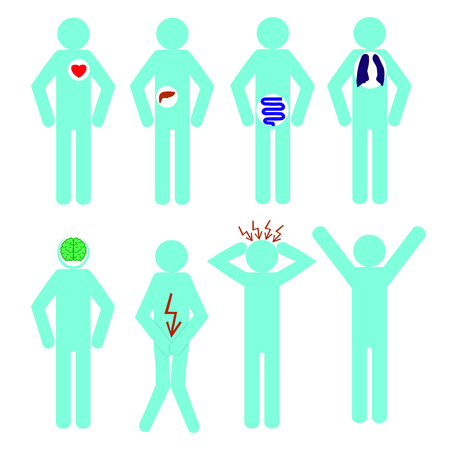 Collection of stick figures, human icon symbol sign medical. Illustration
