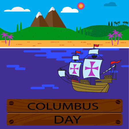 The ships of Christopher Columbus on their way to America. Remove the crosses and you will get three ordinary sail ships. Illustration