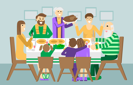 Christmas, Thanksgiving family dinner. Thanksgiving day turkey at the table.Holiday weekend illustration for poster, card, banner. Illustration