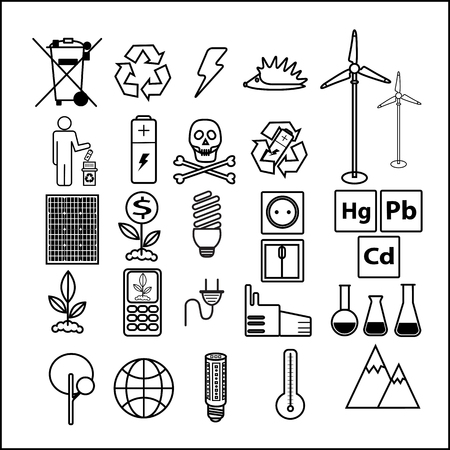 Simple set of line icons theme of ecology. Contains icons such as battery, LED lamp, solar battery, security and more