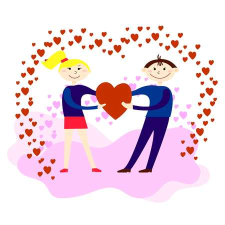 Lovers hold red heart in their hands. Man and woman are smiling. Design for Valentine s Day. Flat style.
