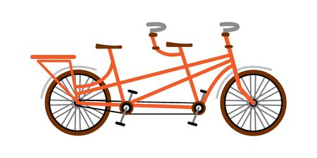 Bike tandem orange. Vector illustration. Flat style
