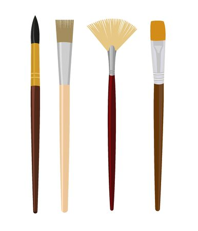 Collection of art brushes in a flat style. Vector. Clipart.