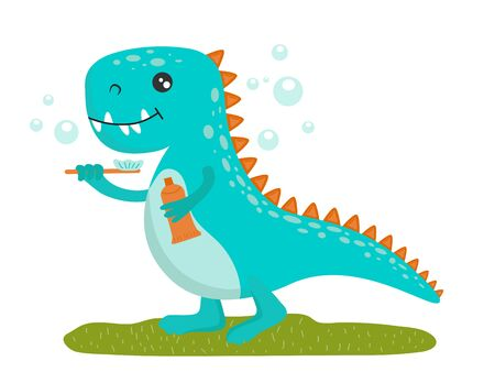 A blue cute little baby dinosaur with a toothbrush and paste stands on green grass surrounded by soap bubbles. Flat vector isolated illustration.