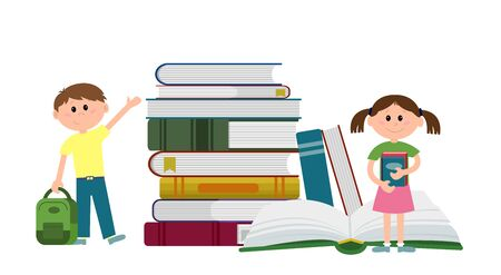 A boy with a backpack and girls with books stand near a pile of books. Full color vector illustration isolated on white background.