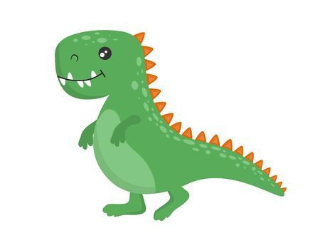 Cute baby green dinosaur. Vector isolated illustration