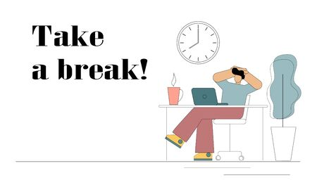 Take a break. Flat man is resting from work. He sits at a table in front of a computer with his hands behind his head and drinks coffee. Rest, break, lunch break, reboot, procrastination, fatigue. Vector isolated illustration.