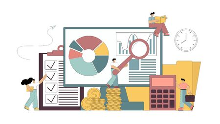 Consulting auditor audit financial reporting concept. Flat people study the documentation, count on the calculator, make a report on the work done. Vector isolated illustration. Çizim