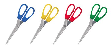 Scissors folded with red, blue, green, yellow handles. Cartoon style. Vector isolated illustration.