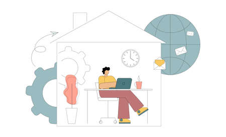 Work from home online, freelancer man working on a laptop, self-isolation. Vector illustration white background.