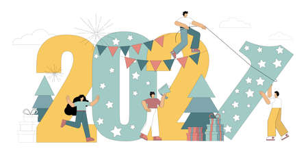 Happy New Year 2021. Flat people are preparing for the holiday, set the number 1. Vector illustration on a white background 向量圖像