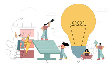 Little people are creating alternative renewable energy sources. Solar energy, natural resource extraction, earth hour, energy saving. Vector illustration isolated on white background.