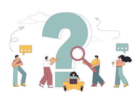 Concept of people frequently asked questions around a question mark. Question. Vector illustration on white background
