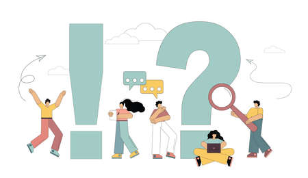 People around exclamation and question marks. Search for answers to questions. Solution to the problem. Vector illustration on white background