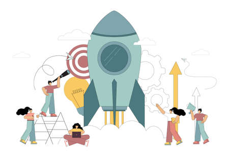 People are starting a new business. Startup. Launching a rocket into space. Vector illustration on white background