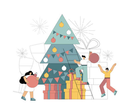People decorate the Christmas tree. Preparing for the holiday, for the New Year. Christmas Eve. The joy of waiting for a miracle. Vector illustration isolated on white background. Banque d'images - 152876594