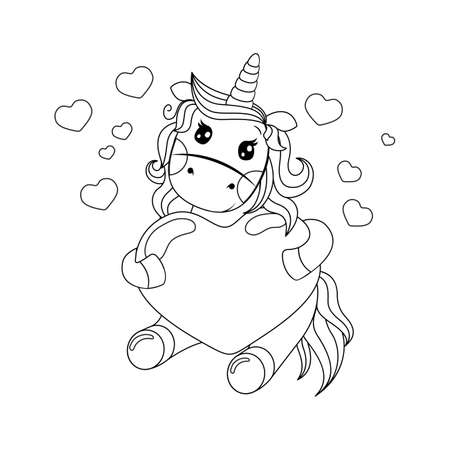 Line icone cute unicorn holding a red heart. Coloring book for children and adults. Antistress 向量圖像