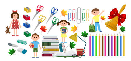Set everything for school. Scissors, pencils, paper clips, erasers, wood shavings, books children school bell leaves