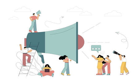 Loudspeaker talks to the crowd. Informing, promoting advertising, shares, announcing. Marketing. Vector illustration in flat style on white background