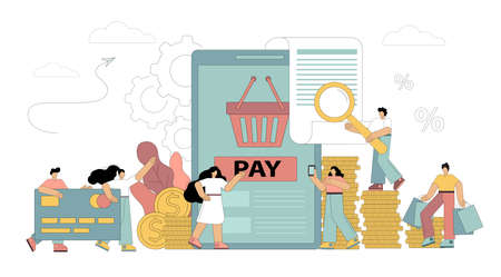People make online payments. Payment by card, loans, debentures, purchases, services, training. Using gadgets to pay. Vector flat illustration on white background 向量圖像