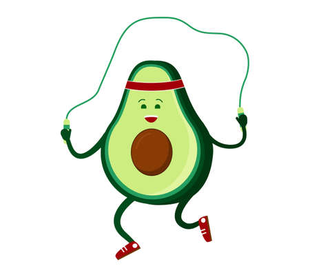 Cute avocado jumping rope. go in for sports. Healthy food, healthy lifestyle, vegetarianism. Vector isolated illustration on white background.