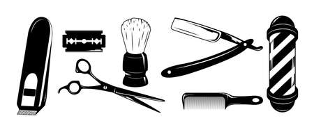 Vector barbershop set. Isolated illustration on a white background.