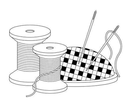 Line icon spool of thread and needle bar with needle bar. Vector isolated illustration on white background Vektorgrafik