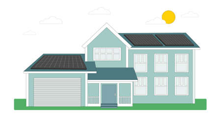 House with solar panels on the roof. Energy Saving Technologies. Green energy. Smart home, modern architecture. Vector illustration isolated on white background. 向量圖像