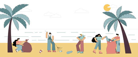 People collect garbage on the beach, cleaning the coast. Volunteers collect garbage in bags. The problem of environmental pollution. Flat vector illustration. 向量圖像