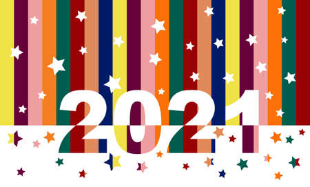 Happy new year 2021. Multicolored vertical stripes. Greeting card, brochure, banner. Vector illustration.