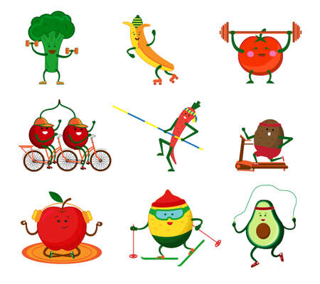 Cute vegetables and fruits going in for sports. Broccoli with dumbbells, carrots with a pole, Tomato raises a barbell, cherries ride a bike, an apple, a lemon on skis. Vector illustration isolated on white background.