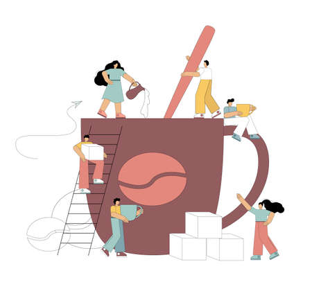 Making coffee. Coffee concept. Small flat people make coffee. Mixes coffee with a spoon, adds milk, puts sugar, drinks coffee. Vector illustration. 向量圖像
