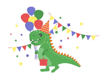 Happy Birthday with a funny dinosaur. Dinosaur with a gift in pastel colors. Vector illustration for cards, banners, posters.
