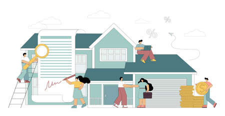 Mortgage concept. Little people take a home loan, sign a lease, invest in real estate, buy a house. The man calculates the mortgage rate. Flat vector illustration 向量圖像