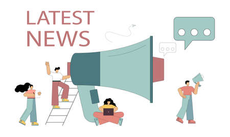 Latest news concept. Little people shout on a megaphone with the latest news word, public notification. Flat vector illustration isolated on white background. 向量圖像